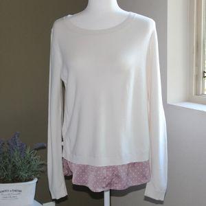 Loft Mixed White & Pink Polka Dot Sweater